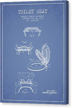 Toilet Seat Patent From 1936 - Light Blue Canvas Print by Aged Pixel