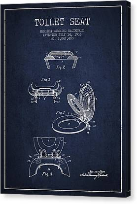 Toilet Seat Patent From 1936 - Navy Blue Canvas Print by Aged Pixel