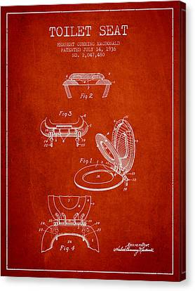 Toilet Seat Patent From 1936 - Red Canvas Print by Aged Pixel