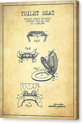 Toilet Seat Patent From 1936 - Vintage Canvas Print by Aged Pixel