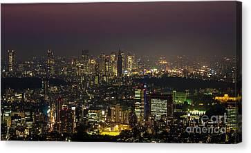 Tokyo Skyline Canvas Print - Tokyo City Skyline by Fototrav Print