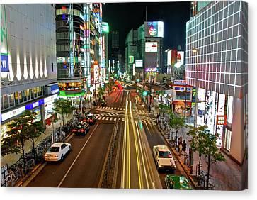 Tokyo Neon Streaks Canvas Print by Jonah  Anderson