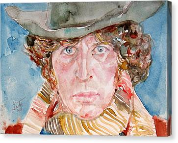 Tom Baker Doctor Who Watercolor Portrait Canvas Print by Fabrizio Cassetta