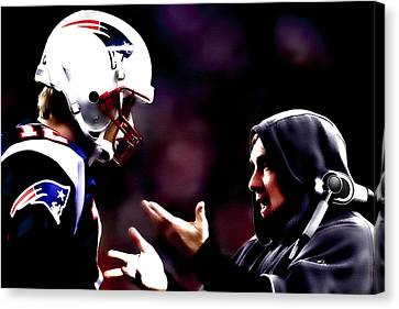 Tom Brady And Coach Canvas Print by Brian Reaves