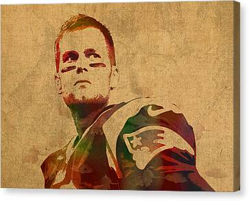 Tom Brady New England Patriots Quarterback Watercolor Portrait On Distressed Worn Canvas Canvas Print by Design Turnpike