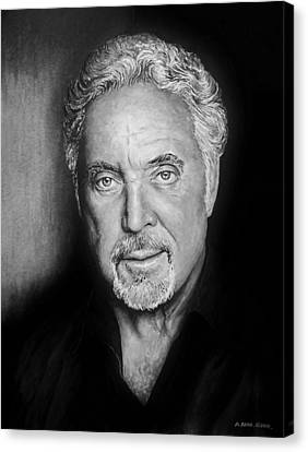 Tom Jones The Voice Bw Canvas Print by Andrew Read