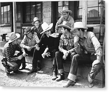 Tom Mix And Cowboys Canvas Print by Underwood Archives