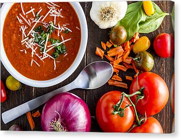 Autumn Soup Canvas Print - Tomato And Basil Soup by Teri Virbickis