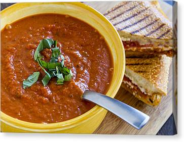 Tomato And Basil Soup With Grilled Cheese Panini Canvas Print