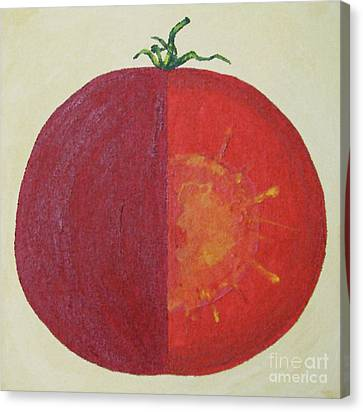 Tomato In Two Reds Acrylic On Canvas Board By Dana Carroll Canvas Print by Dana Carroll