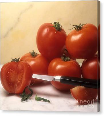 Cut Food Indoors Indoor Inside Knife Knives Nobody Nutrition Sharp Sliced Canvas Print - Tomatoes And A Knife by Bernard Jaubert