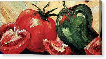 Tomatoes And Green Pepper Canvas Print by Paris Wyatt Llanso