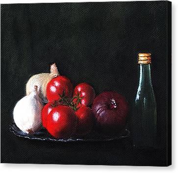 Tomatoes And Onions Canvas Print by Anastasiya Malakhova