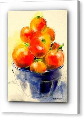 Tomatoes In Blue Bowl Canvas Print by Sue Roberson
