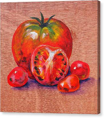 Tomatoes Canvas Print by Judy Bruning