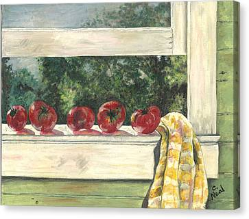 Tomatoes On The Sill Canvas Print