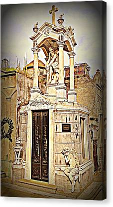 Tomb In Recoleta Cemetary Buenos Aries Canvas Print by John Potts