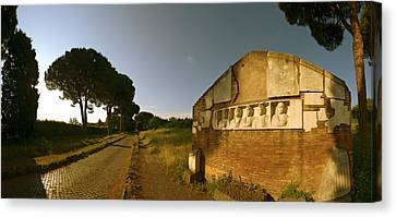 Tombs And Umbrella Pines Along The Via Canvas Print by Panoramic Images