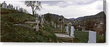 Tombstone In A Cemetery, Saxon Church Canvas Print by Panoramic Images