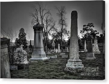 Rest In Peace Canvas Print - Tombstones And Tree Skeletons by Juli Scalzi