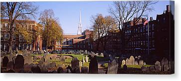 Tombstones In A Cemetery, Copps Hill Canvas Print by Panoramic Images