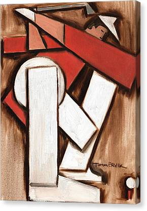 Abstract Golfer Art Print Canvas Print by Tommervik
