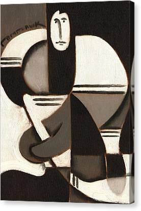 Tommervik Abstract Cubism Hockey Player Art Print Canvas Print by Tommervik
