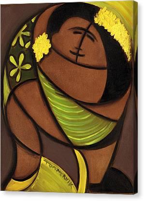 Hawaiian Couple Dancing Art Print Canvas Print by Tommervik