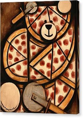 Pizza Bear Art Print Canvas Print by Tommervik