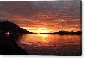 Canvas Print featuring the photograph Tongass Narrows Sunrise On 12/12/12 by Karen Horn