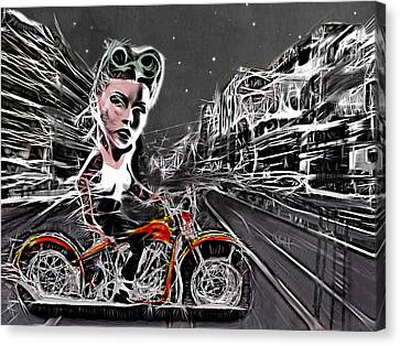 Tonight We Ride Canvas Print by Russell Pierce