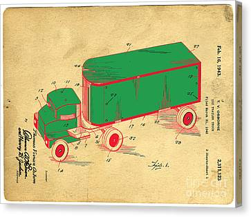 Old Trucks Canvas Print - Tonka Truck Patent by Edward Fielding