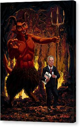 Tony Blair In Hell With Devil And Holding Weapons Of Mass Destruction Document Canvas Print