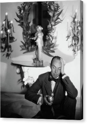 Tony Duquette Wearing A Tuxedo Canvas Print by George Platt Lynes