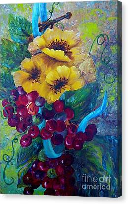 Too Delicate For Words - Yellow Flowers And Red Grapes Canvas Print