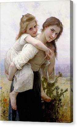 Canvas Print featuring the digital art Too Much To Carry by Bouguereau