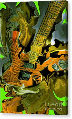 Too Much Vibrations Digital Guitar Art By Steven Langston Canvas Print by Steven Lebron Langston