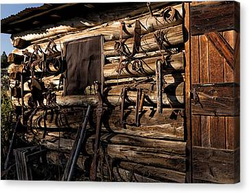 Log Cabin Art Canvas Print - Tool Shed by Kathleen Bishop