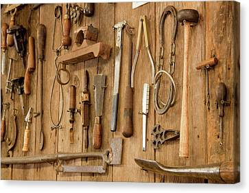 Tools Mounted On Wooden Wall Canvas Print