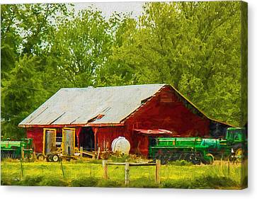 Farm - Barn - Tractor - Tools Of The Trade Canvas Print by Barry Jones