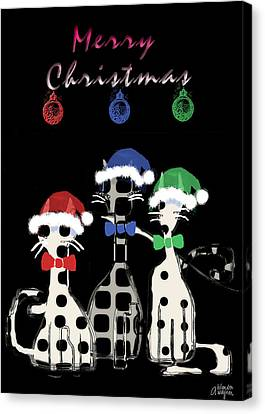 Canvas Print featuring the digital art Toon Cats Christmas by Arline Wagner