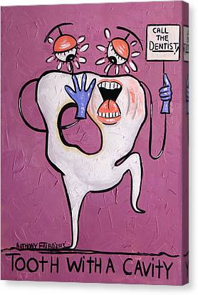 Tooth Canvas Print - Tooth With A Cavity Dental Art By Anthony Falbo by Anthony Falbo