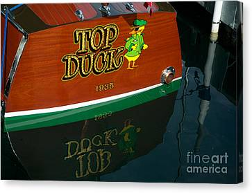 Canvas Print featuring the photograph Top Duck At Tahoe's Wooden Boat Festival  by Vinnie Oakes