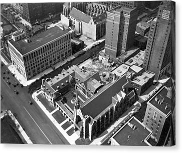 Top Of Palmolive Building View Canvas Print by Underwood Archives