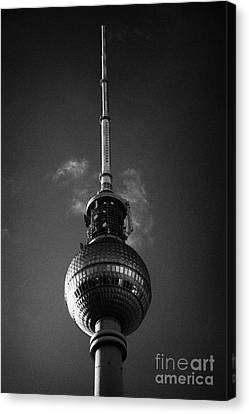 top of the berliner fernsehturm Berlin TV tower symbol of east berlin Germany Canvas Print
