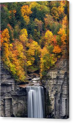Rivers In The Fall Canvas Print - Top Of The Falls by Mark Papke