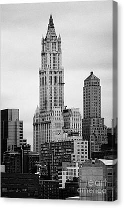 top of the Woolworth and transportation building 233 Broadway new york city Canvas Print