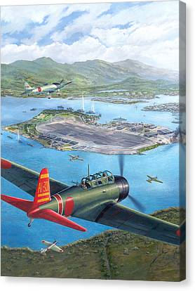 Tora Tora Tora The Attack On Pearl Harbor Begins Canvas Print by Stu Shepherd