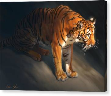 Canvas Print featuring the digital art Torch Tiger 1 by Aaron Blaise