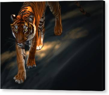 Canvas Print featuring the digital art Torch Tiger 2 by Aaron Blaise